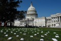 A display of 164 pairs of white clogs arranged outside the US Capitol building by National Nurses United to honour the more than 160 nurses who have lost their lives from Covid-19 in the United States. Photo: AFP