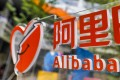 Alibaba logo as seen at its headquarters in Hangzhou, China. The e-commerce giant owns about one-third of Ant Group, which is going for a dual listing in Shanghai and Hong Kong. Photo: EPA-EFE