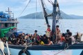 A boat carries suspected Rohingya migrants detained off the island of Langkawi in April. Photo: Malaysian Maritime Enforcement Agency via AP