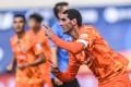 Marouane Fellaini of Shandong Luneng celebrates after scoring against Dalian Pro in Dalian. Photo: Xinhua