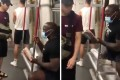 ONE Championship star Alain Ngalani prevents an unmasked passenger on Hong Kong's MTR system from sitting down. Photo: Instagram/Alain Ngalani