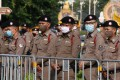 Thai national police officers in downtown Bangkok. Photo: EPA-EFE