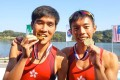 Chan Chi-fung (right) and Chiu Hin-chun win gold at the Asian Championships in South Korea. Chan has added an indoor rowing record to his accolades. Photos: Handout