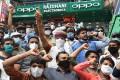 An anti-China protest in Ahmedabad, led by Gujarat's chief minister Karni Sena Raj Shekhawat (centre in turban). Photo: AFP