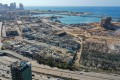 An aerial view shows the massive damage done to Beirut port's grain silos and the area around it. Photo: AFP