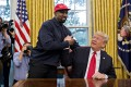 Rapper Kanye West (left) shakes hands with US President Donald Trump during a meeting in the Oval Office of the White House in 2018. Trump says he is not involved in Republican efforts to help get the rapper's name on the presidential ballot in crucial swing states in November's election. Photo: Bloomberg