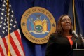 New York State Attorney General Letitia James announces a suit to dissolve the National Rifle Association on Thursday. Photo: Reuters