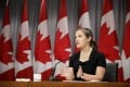 Canada's Deputy Prime Minister Chrystia Freeland speaks during a news conference in Toronto on Friday. Photo: The Canadian Press via AP