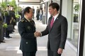 Chinese Defence Minister Wei Fenghe (left) and US Secretary of Defence Mark Esper in November last year. Photo: AP