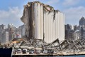 The grain silo in the port of Beirut stands damaged four days after a monster explosion killed more than 150 people and disfigured the Lebanese capital. Photo: AFP