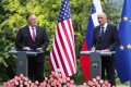 US Secretary of State Mike Pompeo and Slovenian Prime Minister Janez Jansa attend a joint press conference after their meeting. Photo: DPA