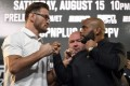 Stipe Miocic and Daniel Cormier face off during the UFC 252 press conference at the UFC Apex on August 13, 2020 in Las Vegas, Nevada. Photo: Chris Unger/Zuffa LLC