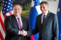Slovenian President Borut Pahor (right) and US Secretary of State Mike Pompeo meet in Bled, Slovenia, on Thursday. Photo: Reuters