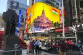 An image of the Hindu deity Ram and 3D portraits of the proposed temple in Ayodhya are displayed on a digital billboard in New York's Times Square on August 5, to celebrate the groundbreaking ceremony in the northern Indian city. Photo: AP