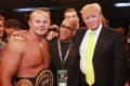 Fedor Emelianenko (left) poses with Donald Trump (right) at an Affliction: Banned event at the Honda Center on July 19, 2008 in Anaheim, California. Photo: Tiffany Rose/WireImage