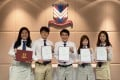 Victoria Shanghai Academy student Jason Chan (second left), who previously scored a 44 on the International Baccalaureate, saw his grade improve to a perfect 45 after adjustments. Photo: Chan Ho-him