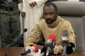 Colonel Assimi Goita speaks to the press at the Malian Ministry of Defence in Bamako on Wednesday after confirming his position as the president of the National Committee for the Salvation of the People. Photo: AFP