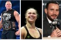 WWE and UFC crossover stars (from left to right) Brock Lesnar, Ronda Rousey and CM Punk. Photos: @brock._.lesnar/Instagram; Reuters/Ricardo Moraes; AP Photo/Las Vegas Review-Journal