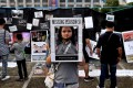 A pro-democracy protester during a rally outside the Bangkok Metropolitan Authority headquarters. Photo: AFP