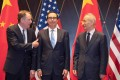 US Trade Representative Robert Lighthizer (left) and US Treasury Secretary Steven Mnuchin (centre) meet for talks with Chinese Vice-Premier Liu He in Shanghai in 2019. Photo: AFP