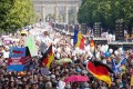 Around 38,000 protesters gathered for events across Berlin and police reported pockets of unrest, as infections rise in Europe and public frustration at measures to contain the virus grows. Photo: DPA