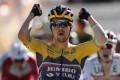Slovenian rider Primoz Roglic of Jumbo-Visma team celebrates winning the fourth stage of the Tour de France. Photo: EPA