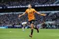 Wolverhampton Wanderers striker Raul Jimenez celebrates scoring his side's third goal during the English Premier League game against Tottenham Hotspur. Photo: DPA