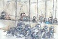 A courtroom sketch shows the accused and their lawyers in protective masks at the Paris courthouse on Wednesday, the first day of the Charlie Hebdo trial. Image: AFP