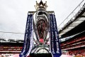 The English Premier League trophy on display ahead of a match between Arsenal and Leicester City in London. Photo: EPA