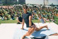 Victor Chau, a yoga instructor, leading an outdoor festival class before the pandemic. Photo: Handout