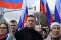 Alexei Navalny during a march in memory of murdered Kremlin critic Boris Nemtsov in downtown Moscow. Photo: AFP