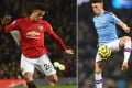 Manchester United striker Mason Greenwood and Manchester City midfielder Phil Foden will be sent home and play no part in England's game against Denmark on Tuesday. Photos: AFP