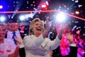 Hillary Clinton celebrates on the last day of the Democratic National Convention, in Philadelphia, Pennsylvania on July 29, 2016. The Democratic presidential hopeful won the popular vote but lost the electoral college. Photo: AFP