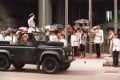 The Volunteers' final parade passes by chief secretary Anson Chan on September 2, 1995. Photo: SCMP