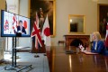 Britain's International Trade Secretary Liz Truss during a video conference call with Japanese Foreign Minister Toshimitsu Motegi in June. Photo: 10 Downing Street / AFP