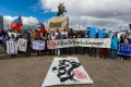 "Protesters in Ulan Bator hold a banner reading ""save the Mongolian language"" during a demonstration last week against China's decision to expand use of Mandarin instead of Mongolian in Inner Mongolia. Photo: EPA-EFE"