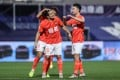 Aloisio, also known as Luo Guofu, of Guangzhou Evergrande celebrates his goal with his teammates during the first round Chinese FA Cup against Henan Jianye. Photo: Xinhua