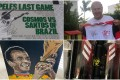 Pele's last game poster, Zico's Flamengo jersey from 1981, Cafu's painting of him lifting the World Cup and his special Adidas boots are all up for auction. Photos: OleNoCorona