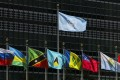 Flags are flown outside the United Nations headquarters in New York on Monday. Photo: EPA-EFE