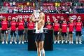 Dayana Yastremska kisses the trophy after winning the 2018 Prudential Hong Kong Tennis Open. Photo: Andy Cheung/ArcK Photography for Hong Kong Tennis Open