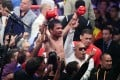 Manny Pacquiao celebrates his split-decision victory over Keith Thurman in their WBA welterweight title fight in Las Vegas. Photo: AFP