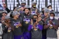 The Los Angeles Lakers celebrate after beating the Denver Nuggets in the NBA Western Conference final. Photo: AP