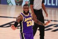 Los Angeles Lakers forward LeBron James reacts in the NBA game against the Denver Nuggets. Photo: USA Today Sports