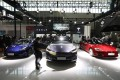 Tesla electric cars are displayed at the Auto China 2020 on Saturday, September 26, 2020. Photo: Simon Song