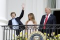 US president Donald Trump and first lady Melania are staunch supporters of their son Barron's love of soccer. Photo: EPA/SIPA Pool