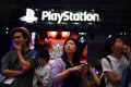The Sony PlayStation logo is seen on the exhibition floor during the Tokyo Game Show on September 12, 2019. Photo: AFP