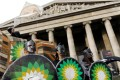 Climate change activists demonstrate against BP outside the British Museum in London on February 8. Photo: Reuters