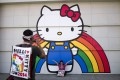 Fans of Hello Kitty at a convention to celebrate the character, in Los Angeles. Photo: AP