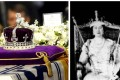 """The """"cursed"""" Koh-i-noor diamond – set in The Queen Mother's Crown – was placed on top of her coffin after her death Photos: AP and Reuters"""