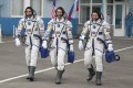 US astronaut Chris Cassidy, left, Russian cosmonauts Anatoly Ivanishin, centre, and Ivan Vagner, prior to their launch in April. File photo: AP